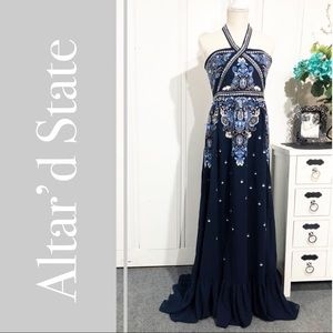 Altar'd State Blue Corabeth Embroidered Maxi Dress